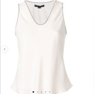 ALexander Wang creme studded trim silk top sz 4